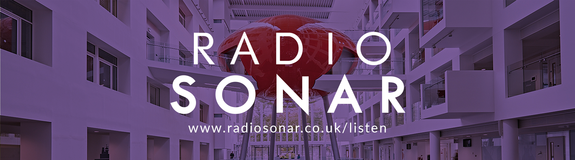 Radio Sonar text over a picture of the red pod located in The Spark building of Solent University